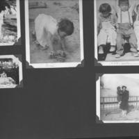 Gilbert T. Tanji album page 58. Tanji children playing, at holiday season, and at the Fleischhaker Zoo (San Francisco Zoo)