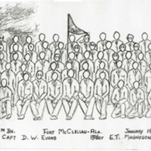 34th Infantry Division, Company B Fort McClellan Training Camp Panoramic Drawing