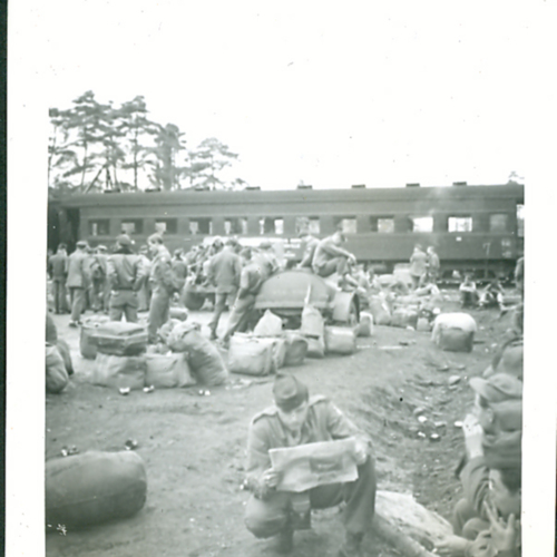 Soldiers lounging at camp