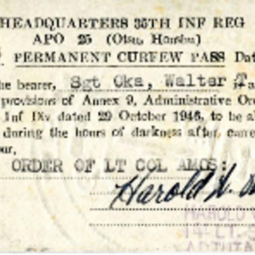 Walter Oka Permanent Curfew Pass 35th Infantry Regiment
