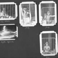 Gilbert T. Tanji album page 17. Babies, Judy White and Clifton Uyematsu