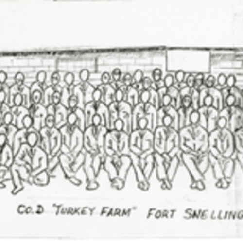 Company D Fort Snelling Training Camp Panoramic Drawing