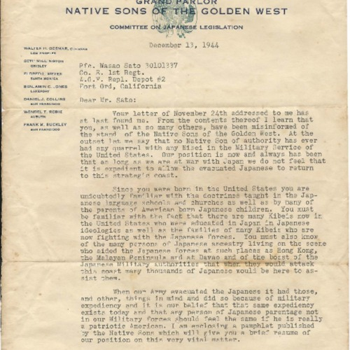 Letter from Walter H. Odermar, Grand Parlor, Native Sons of the Golden West to Pfc. [Private First Class] Masao Sato, Fort Ord, December 13, 1944