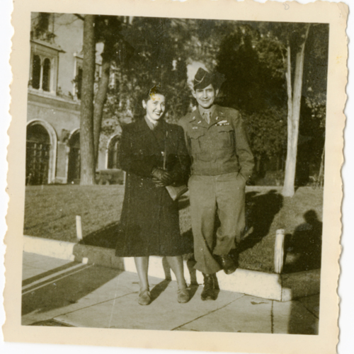 World War Two soldier and woman posing outside