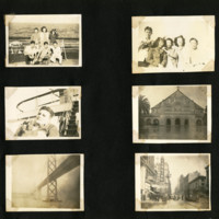 Ted Tsukiyama album, page 20 [groups of people, man on ship, bridge, city street]