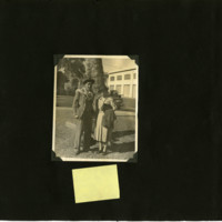 Ted Tsukiyama album, page 25 [Man and woman in front of tree]