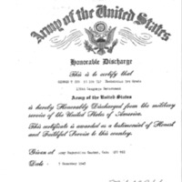 Facsimile of honorable discharge certificate, George T. Ito