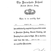 Facsimile of parachute school  completion certificate, T/5 George T. Ito
