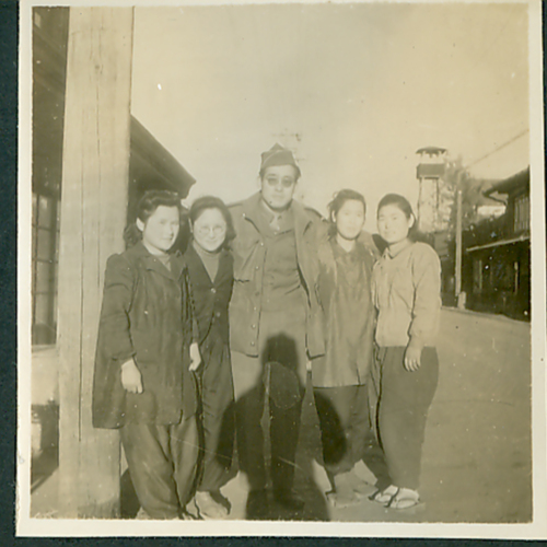 A soldier and four women
