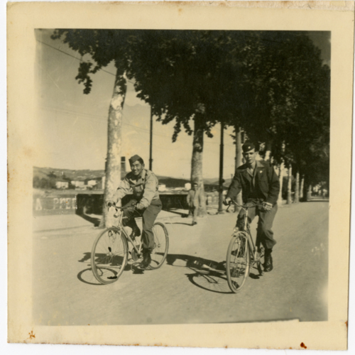 World War Two soldiers bicycling