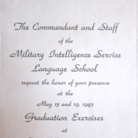 Military Intelligence Service Language School graduation announcement