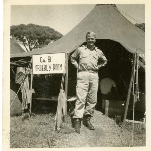 World War Two soldier posing by the B Company orderly room