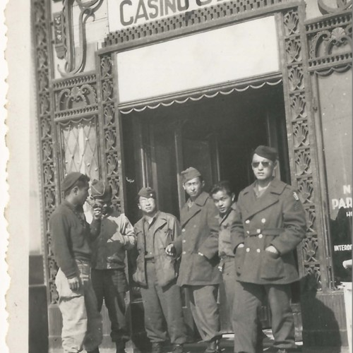 Group of Japanese American soldiers at an American Red Cross Casino club