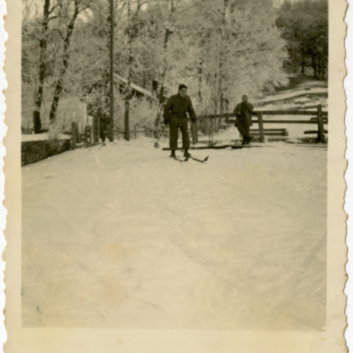 World War Two soldier skiing
