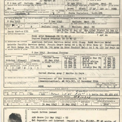 Enlisted Record and Report of Separation, Honorable Discharge, Osamu Nakagawa