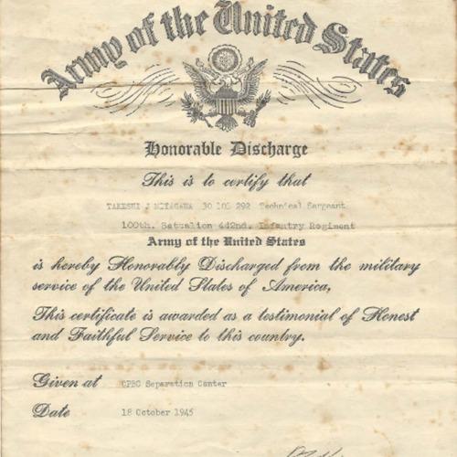 Honorable Discharge Certificate for Takeshi J. Miyagawa, October 18, 1945