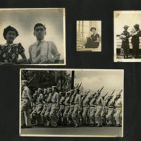 Ted Tsukiyama album, page 18 [Japanese American couples, seated woman,  soldiers marching]
