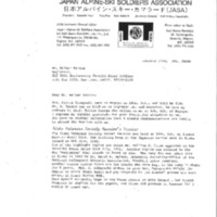 Booklet page. Letter from Karl Kaoru Kasukabe, Japan Alpine-ski Soldiers Association, to Mr. Walter Tanaka, Registrar, MIS [Military Intelligence Service] 50th Anniversary Reunion, October 23, 1991<br />