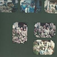 Gilbert T. Tanji album page 54. Color photographs of Ushiyama family in a garden