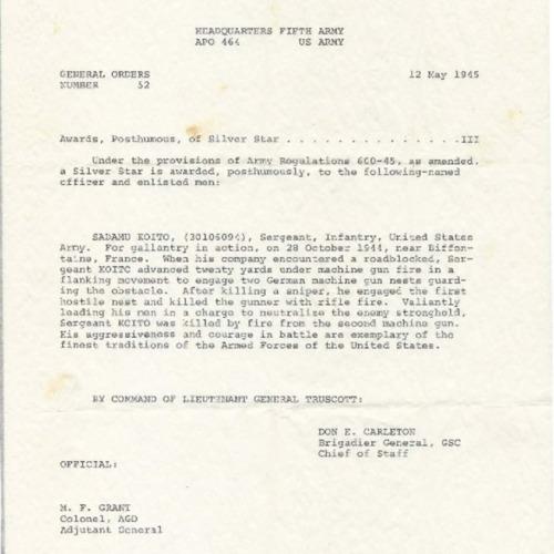 Letter of posthumous award, silver star and circumstances of death of Sadamu Koito.
