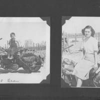 Gilbert T. Tanji album page 61. Young boy and young Japanese American woman sitting on a motorcycle