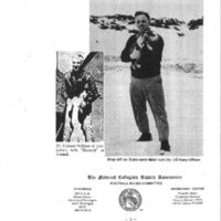 Booklet page. United States Caucasian soldiers with dogs in Aleutian Islands