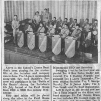 School Battalion's Dance Band Newspaper Clipping