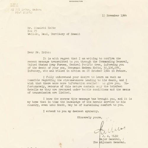 Leter from J. A. Ulio, Major General, to Mr. Hinaichi Koito, November 15, 1944