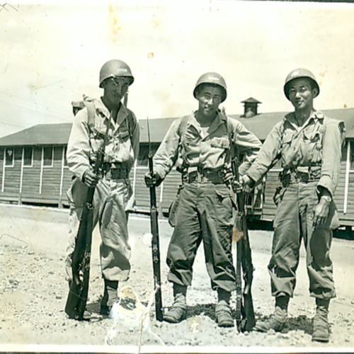 Three soldiers with their guns