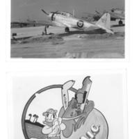 Gilbert T. Tanji album page 71. Technical Air Intelligence Center aircraft and Donald Duck cartoon image