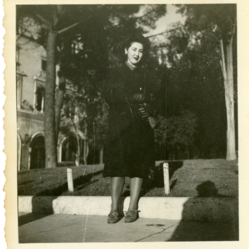 Woman posing outside
