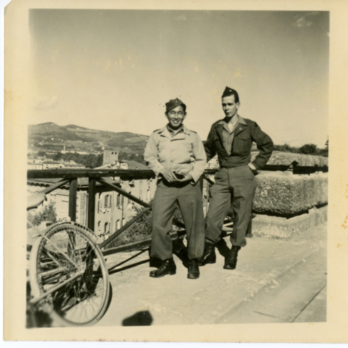 World War Two soldiers posing at Piazzale Michelangelo in Florence, Italy
