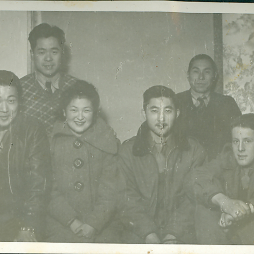 George, other soldiers, and Japanese civilians