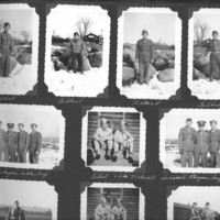 Gilbert T. Tanji album, page 12. Japanese American soldiers in snow
