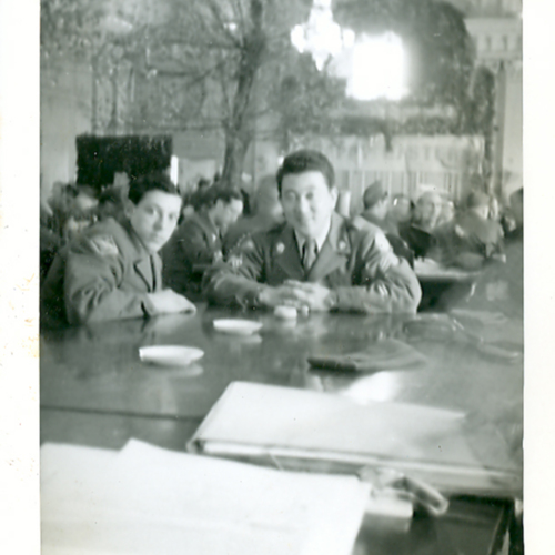 Soldiers at a restaurant
