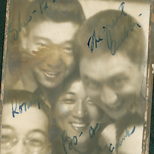 Five soldiers in a photo booth