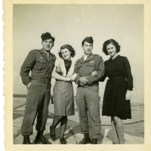 Paul William Nishimuta, a World War Two soldier, and two women posing outside