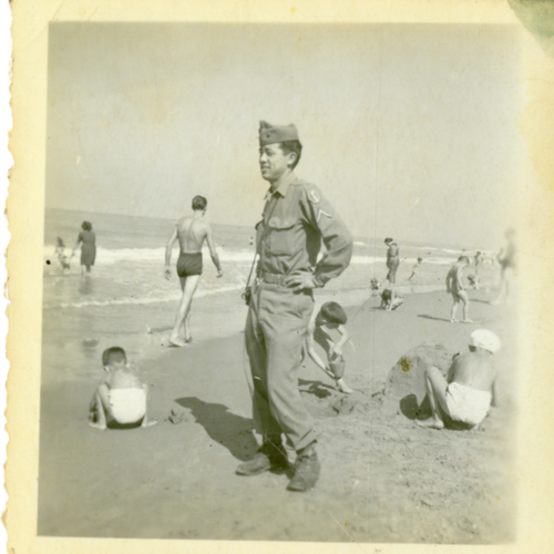 World War Two soldier posing at the beach