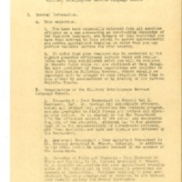 Information Bulletin for Enlisted Men attending the Military Intelligence Service Language School