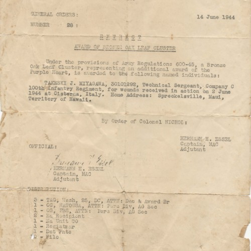 Confidential memo awarding a Bronze Leaf Cluster to Takeski J. Miyagawa, June 14 ,1944