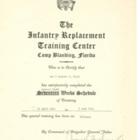 Gilbert T. Tanji, album page 79. Infantry Replacement Training Center Certificate