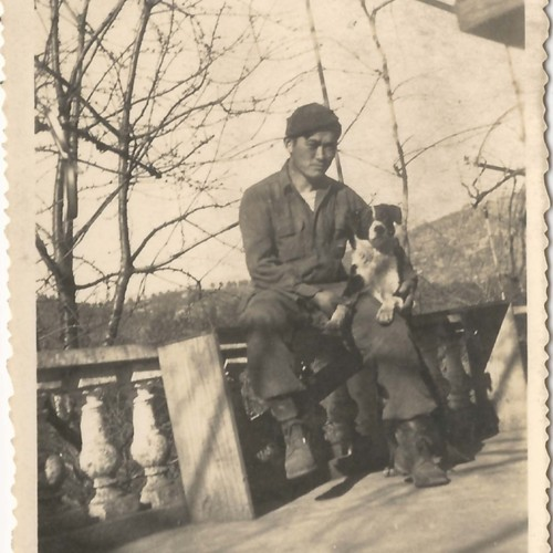 Japanese American soldier with dog