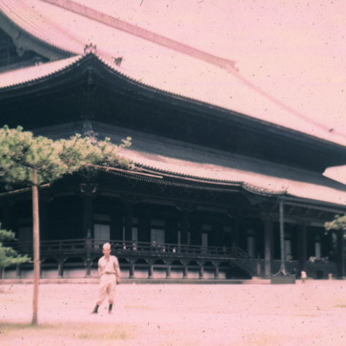 Soldier in front of temple