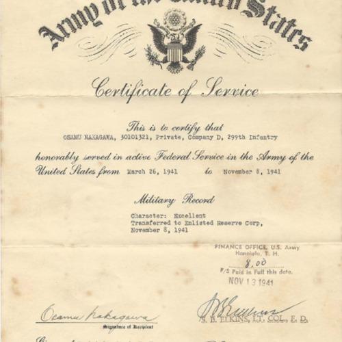 Certificate of Service, Osamu Nakagawa