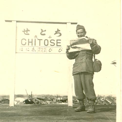 Ralph Kaneshiro at the Chitose train station
